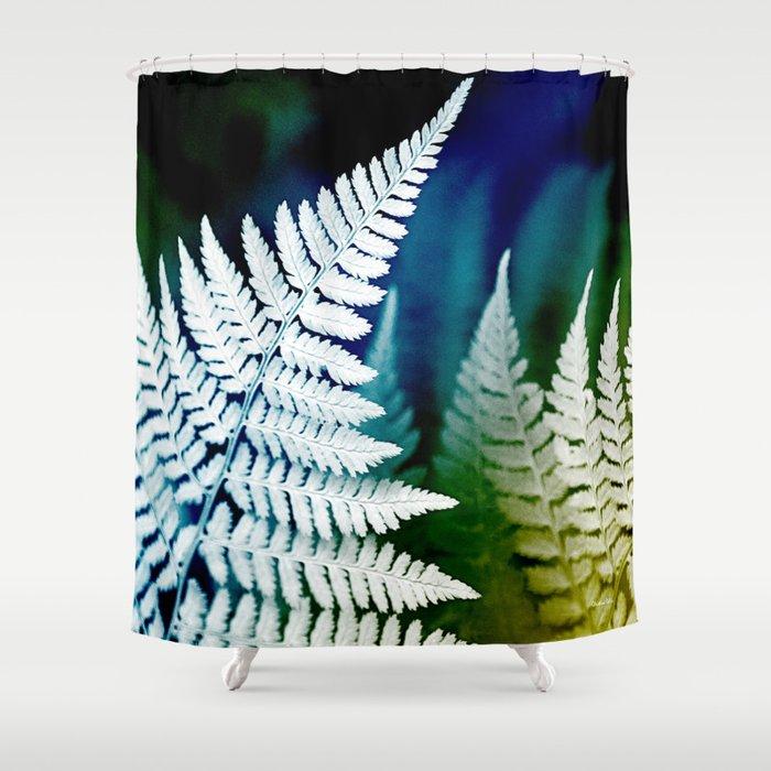Blue Fern Leaf Art Shower Curtain by christinarollo | Society6