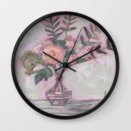 Pops of Hot Pink Florals Wall Clock
