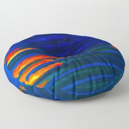 Midnight Blue Lava Lines, Our Earth Burn Marks Floor Pillow