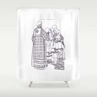christian schloe Shower Curtains featuring Christian service by Shelby Claire