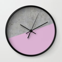 Concrete with Pink Lavender Color Wall Clock