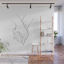 Holding hands,love illustration,white background Wall Mural