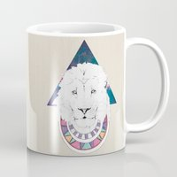 the lion king Mugs featuring King Lion by Katell Desormeaux