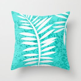 Turquoise Sponge Fern II Throw Pillow