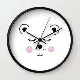 Cute bear illustration Wall Clock