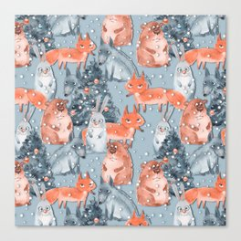 Christmas pattern with cute animals Canvas Print