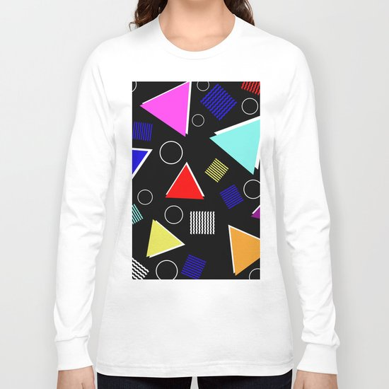 Fun Retro - Triangles, rings and waves patterned design, blue, red, purple, pink, yellow Long Sleeve T-shirt