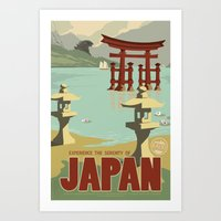 travel poster Art Prints featuring Kaiju Travel Poster by Duke Dastardly