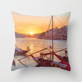 Porto sunset, Portugal Throw Pillow