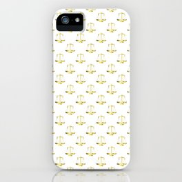 Gold Scales Of Justice on White Repeat Pattern iPhone Case
