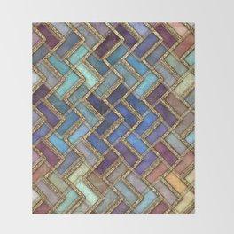 Colorful Royal Gold II Geometric Pattern Throw Blanket