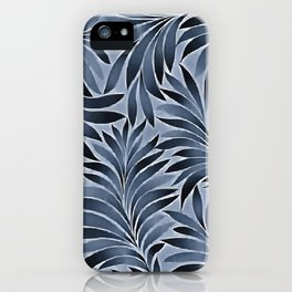 Ornate Leaves In Blue Black Color Pattern iPhone Case