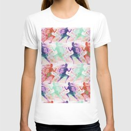Watercolor women runner pattern with red mint and dark purple T-shirt