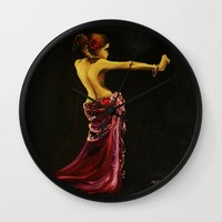 "dancer Wall Clocks featuring Dancer by Barbora ""Mad Alice"" Urbankova"