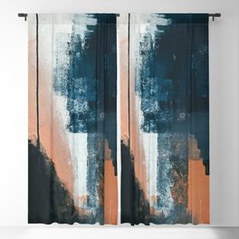 Vienna: a minimal, abstract mixed-media piece in pinks, blue, and white by Alyssa Hamilton Art Blackout Curtain