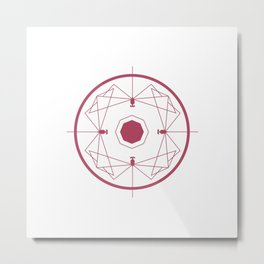 Geometric dragonfly circle Metal Print