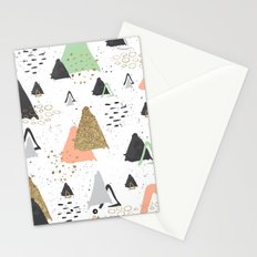 Triangles & textures watercolor Stationery Cards