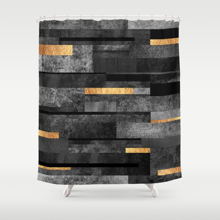 Urban Black & Gold Duschvorhang