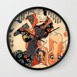 A Cat dressed as a Woman tapping the Head of an Octopus by Utagawa Kuniyoshi Wall Clock