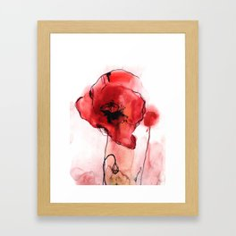 Red Poppy Watercolor Painting Framed Art Print