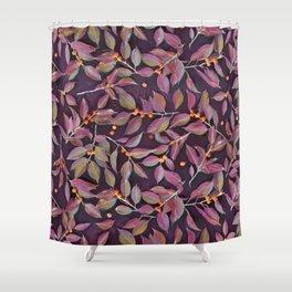 Leaves + Berries in Olive, Plum & Burnt Orange Shower Curtain