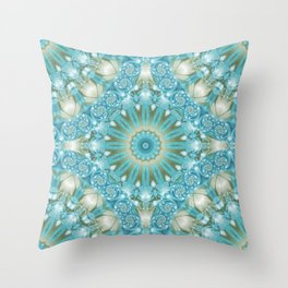 Turquoise and Gold Mandala Tile Throw Pillow