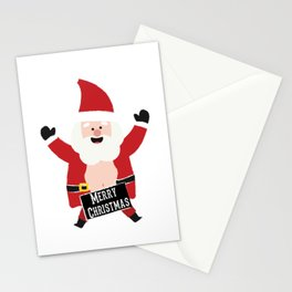 Merry Christmas Drunk Naughty Santa Claus Funny Stationery Cards