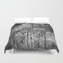 Black and White Ash Trees Duvet Cover