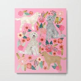 Golden Doodle dog breed must have dog art pet portrait animal fur baby illustration florals dog gift Metal Print