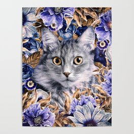 Cat in Flowers. Autumn Poster