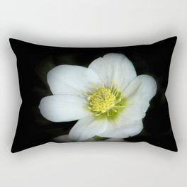 Christmas rose on black Rectangular Pillow