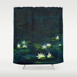 Water Lilies at Night Shower Curtain