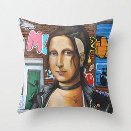 Punk Mona Lisa Throw Pillow