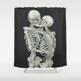 Valentine's Day Gift: Skeleton Kiss Shower Curtain