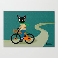 cycling Canvas Prints featuring Cycling by BATKEI