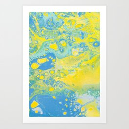 Fluid Art Acrylic Painting, Pour 36, Yellow, Green & Blue Blended Color Art Print