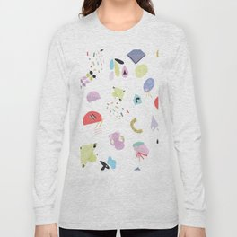 Geometric Shapes and Pastel Colored Trendy Pattern Long Sleeve T-shirt