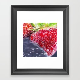 Bubbly Strawberries Framed Art Print