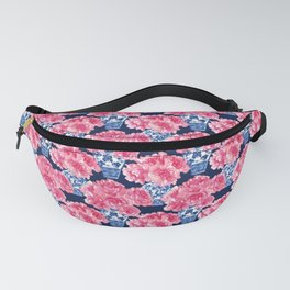 Watercolor Peony Bouquets in Blue Chinese Vases on Navy Fanny Pack