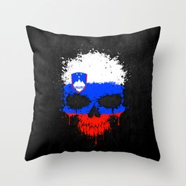 Flag of Slovenia on a Chaotic Splatter Skull Throw Pillow
