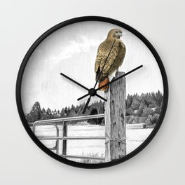 Red tailed hawk on fencepost Wall Clock