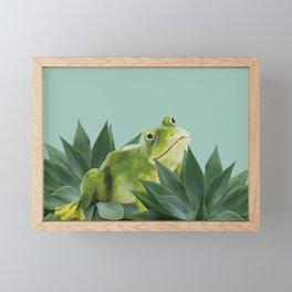 Frog sitting between agave leaves Framed Mini Art Print