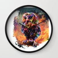 trex Wall Clocks featuring brave little owl by ururuty