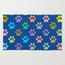 Colorful paw prints pattern Rug