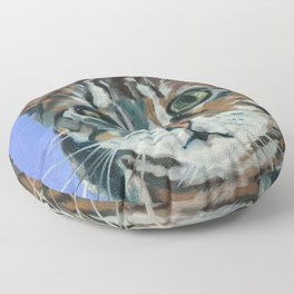 Green Eyed Cat Portrait Floor Pillow