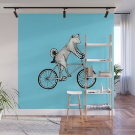 Shiba Inu Riding a Bicycle Wall Mural