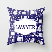 lawyer Throw Pillows featuring Blue Lawyer by Be Raza