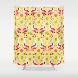 Brazilian Birds & Fruits - Roseate Spoonbill + guavas Shower Curtain