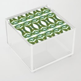 Palm Leaf Kaleidoscope (on white) #2 Acrylic Box