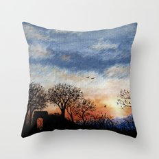 Winter Silhouette Sunset Throw Pillow
